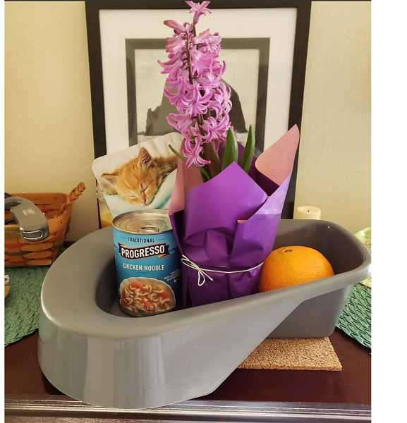 COURTESY DEEDRA THOMPSON - Thompson's bedpan gift was filled with a card, flowers, an orange, a can of soup and a Sudoku book.