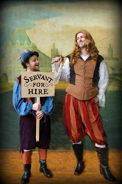Cliton played by Aaron Palumbo and Dorante played by James Van Eaton in CCCs production of The Liar.