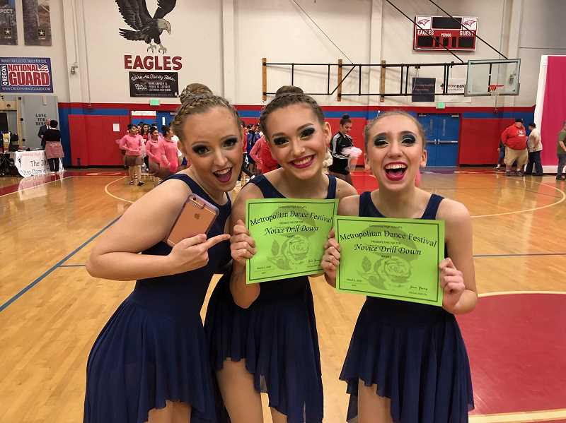 COURTESY PHOTO - West Linn High Schools dance team, the Debutantes, took second place in a competition at Centennial High School March 2. Deb dancers Ally Cannon, Maizy Kelly and Grace Luther earned spots in the top 10 for advanced drill down.