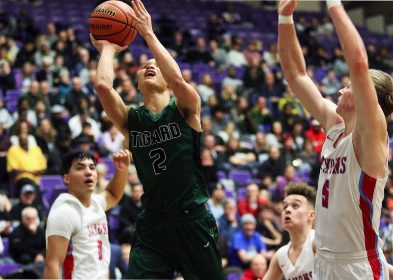 PMG PHOTO: DAN BROOD - Tigard High School senior Jazz Ross (2) puts up a shot during the Tigers' game with South Salem Wednesday at the Class 6A state tournament.