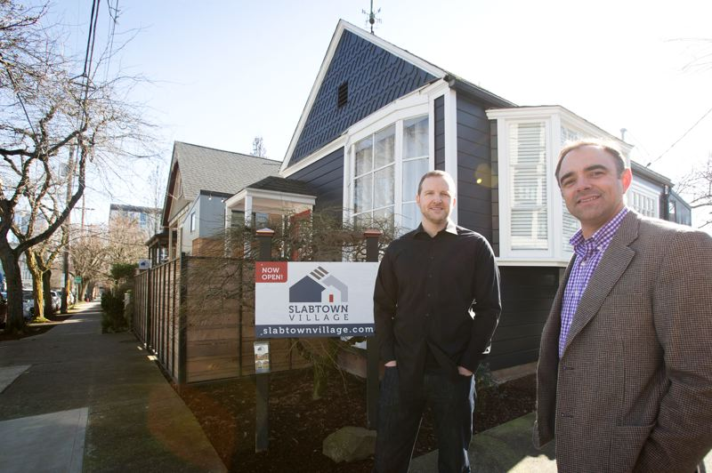 PMG PHOTO: JAIME VALDEZ - John Jendritza, left, and Grant Norling are the owners of Slabtown Village in Northwest Portland.