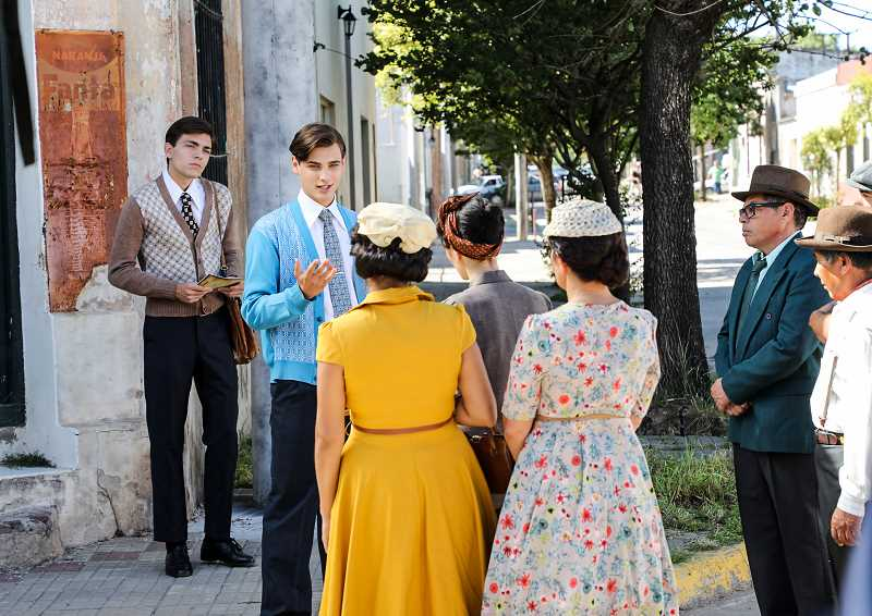 COURTESY OF LUIS PALAU ASSOCIATION - Santiago Achaga, 18, who plays a young Luis Palau, tests his preaching skills in the streets of Argentina in the film Palau: The Movie.