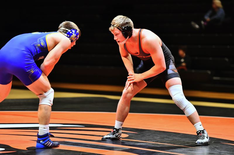 COURTESY: OREGON STATE UNIVERSITY - Myles Terry (right), former St. Helens High standout, wrestles for Oregon State.