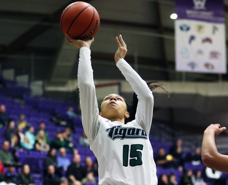 PMG PHOTO: DAN BROOD - Tigard High School sophomore Ajae Holdman goes up to take a shot near the basket during the Tigers' state tournament game with Sheldon.