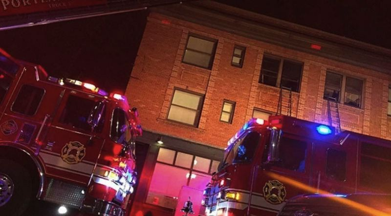 KOIN 6 NEWS IMAGE - An apartment fire in Northwest Portland sent two people to the hospital Thursday night.