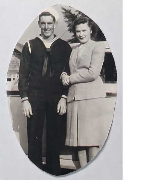 COURTESY OF KAREN KIRSCH - Marlin and Arlene Hammond. Marlin served in the Navy and was deployed in the South Pacific during a period of intense combat. Arlene would later recall the day the war ended, and realizing that 'something could have happened to my sailor between the last letter written two weeks before and the present.' When he returned home, she was releived; everything else seemed trivial. 'It showed me what really matters.'