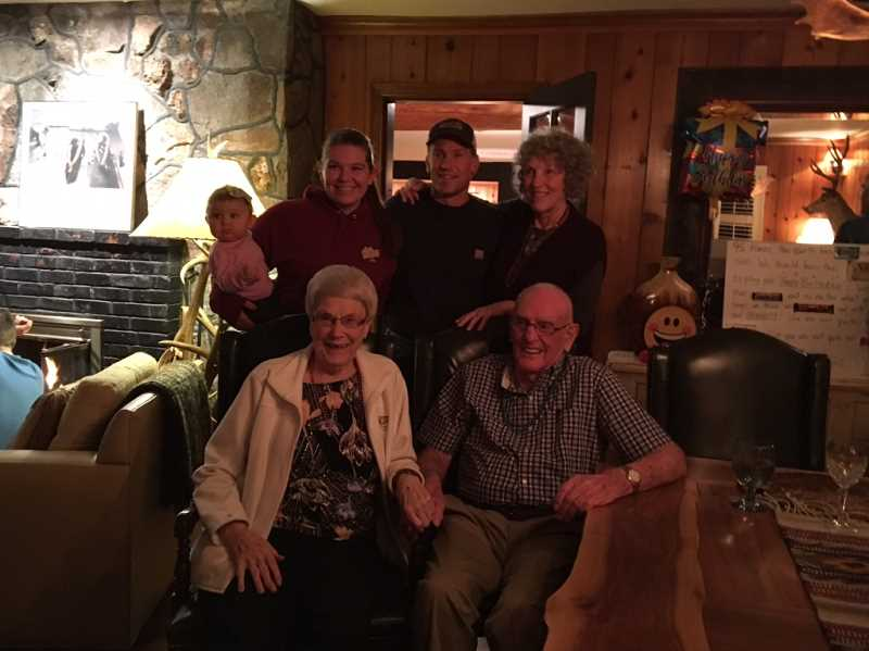 COURTESY OF KAREN KIRSCH - Five generations: Marlin and Arlene Hammond of Woodburn pose with a daughter, Ronda; grandson, Ross; , great granddaughter, McKenzie; and great-great granddaughter, Addison.