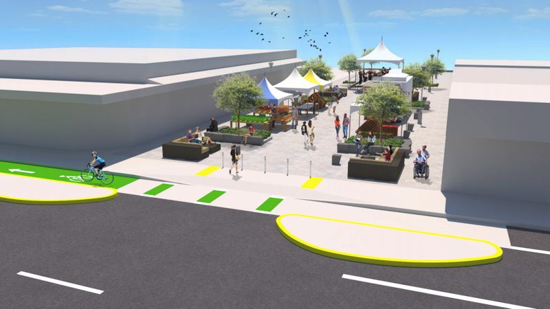 VIA PBOT - A rendering of the Northeast 103rd Avenue festival street in Portland's Gateway neighborhood is shown here.