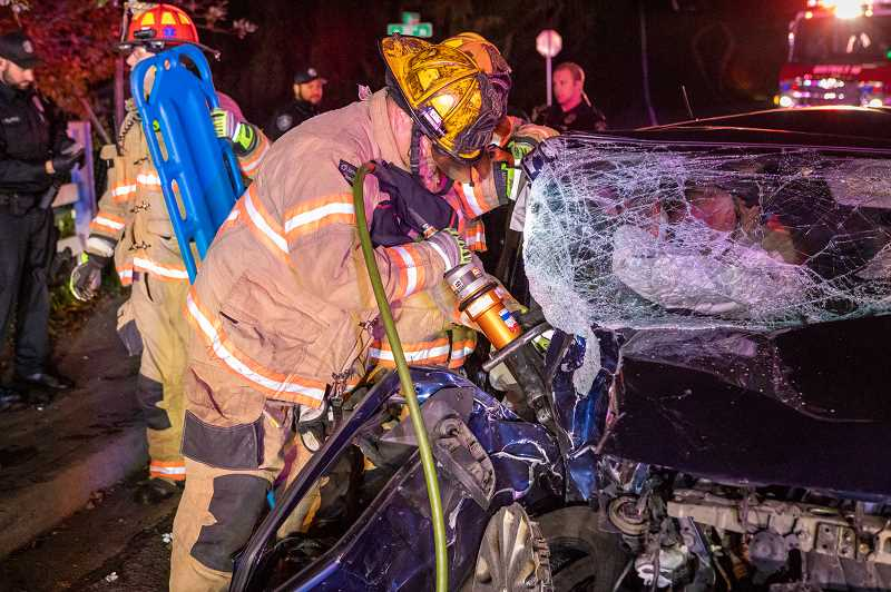 COURTESY PHOTO: GREG MUHR, GRESHAM FIRE - Gresham Fire and Emergency Services deals with many traumatic scenarios, including car wrecks.