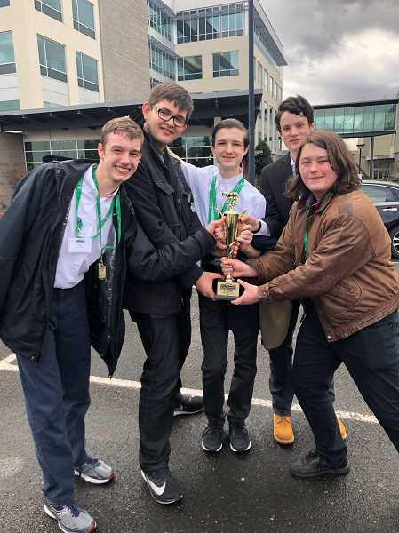 COURTESY OF SUE SUTTICH - The winners of the Junior Achievement Stock Market Challenge from Tigard High included, from left, Tyler Tigrad Emerson, Bonifacio Yuzon, James Favot, Eli Dobson and Harrison Lieuallen.