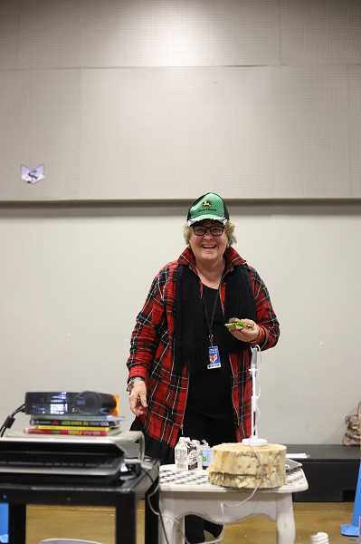COURTESY OF OREGON AGRICULTURE IN THE CLASSROOM FOUNDATION - Carolyn Jackson, a retired educator and owner of a Century Farm in Halsey, visited MITCH to the featured book, John Deere, Thats Who! as part of the statewide kick-off of the annual literacy project.