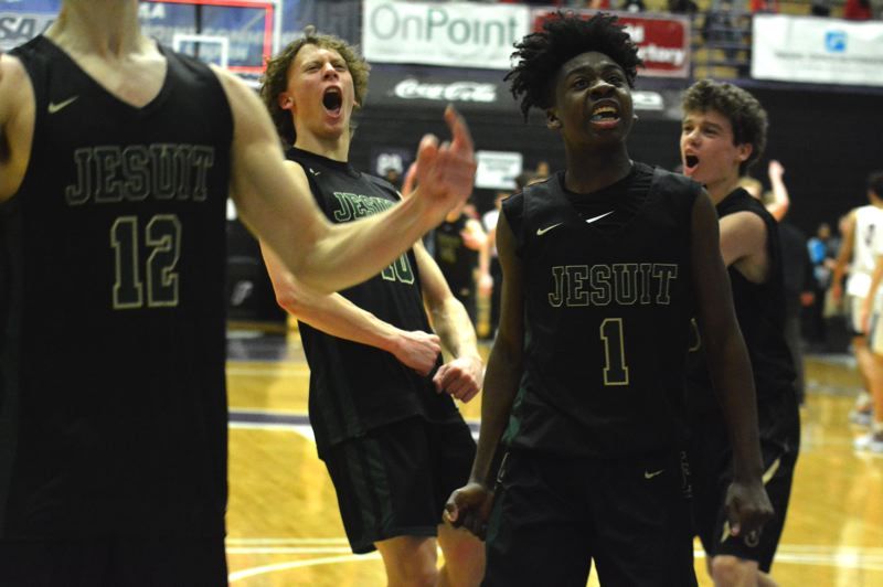 TIMES PHOTO: MATT SINGLEDECKER - The Jesuit boys basketball team beat Lake Oswego in the Class 6A semifinals on Friday.