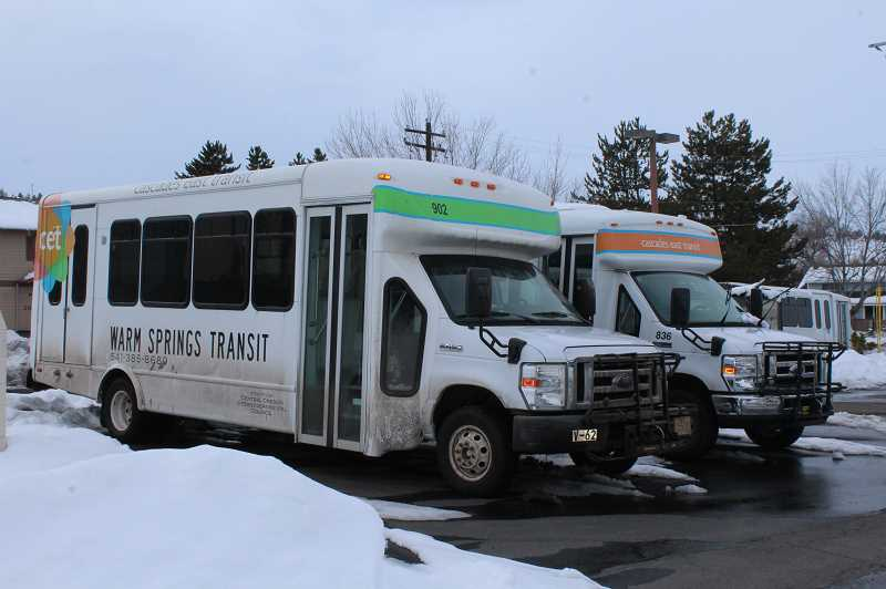 HOLLY M. GILL/MADRAS PIONEER - Cascade East Transit buses park in the parking lot near the Department of Motor Vehicles, where they pick up and drop off passengers. Local open houses on the CET 2040 Master Plan are set for March 13, in Madras, and March 14, in Warm Springs.