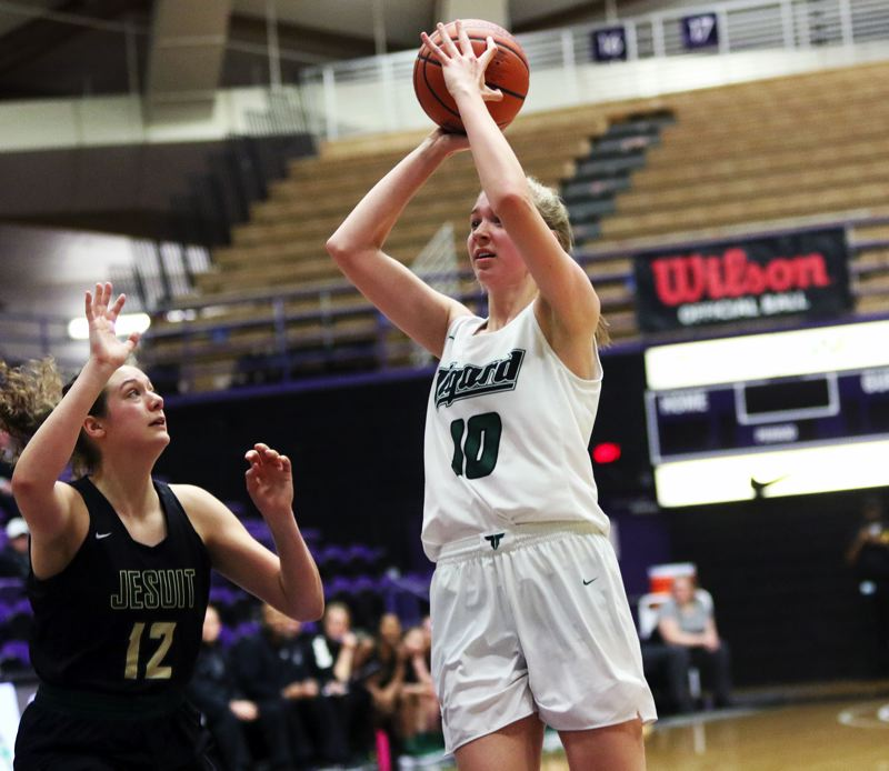 PMG PHOTO: DAN BROOD - Freshman Sarah Lamet sank the game-winning basket for the Tigers in their 45-43 state tournament win over Jesuit on Friday.