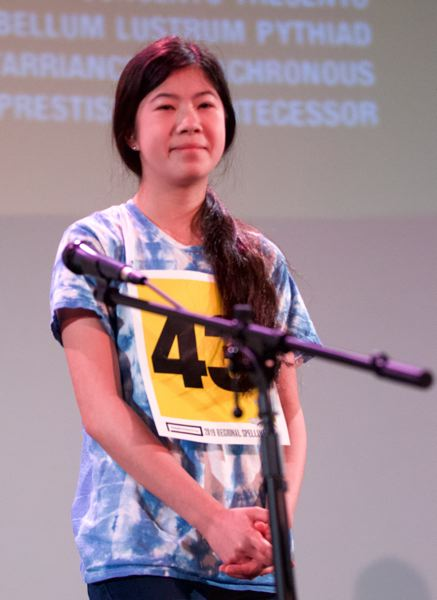 PMG PHOTO: JAIME VALDEZ - Portland resident Agatha Chang, a seventh-grader at Winterhaven School, is the winner of the 2019 Regional Spelling Bee, sponsored by the Pamplin Media Group.