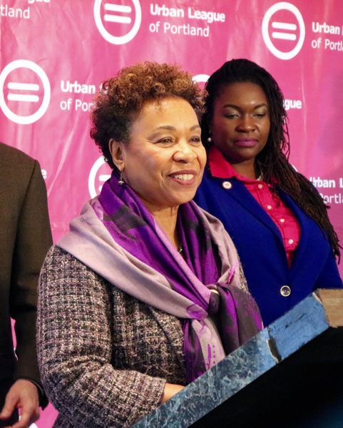PMG PHOTO: ZANE SPARLING - California bay area Democrat Rep. Barbara Lee speaks during a press conference in Portland on March 9.