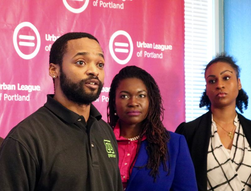 PMG PHOTO: ZANE SPARLING - Adrian Wayman, founder of the Green Box marijuana delivery service, speaks at a March 9 press conference at the Urban League of Portland.