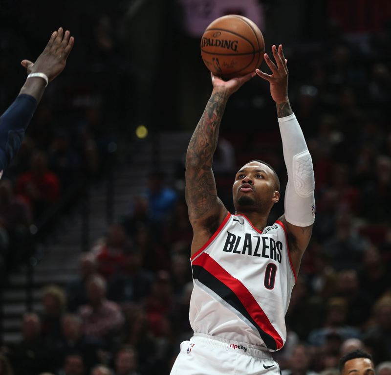 COURTESY: DAVID BLAIR - Damian Lillard of the Trail Blazers has his eyes on home court advantage in the first round of the NBA playoffs.