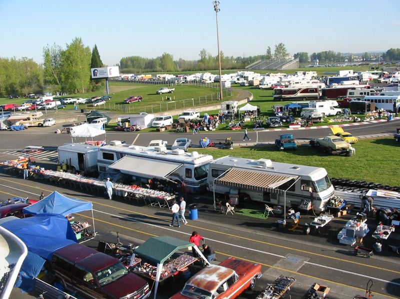 CONTRIBUTED - Vendors like the track at the Portland International Raceway swap meet.