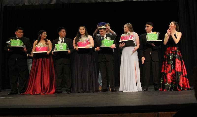 PMG PHOTO: JUSTIN MUCH - The 2019 Mr. and Miss Gervais Pageant, Saturday, March 9. Left to right, Cesar Santos, Regena Vargas, Jonathan Cruz Lopez, Veronica Esquivel-Barrera, Alejandro Contreras, Jamie Roberts, Kevin Borja and Abigail Saalfeld.