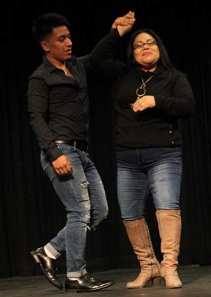 PMG PHOTO: JUSTIN MUCH - Jonathan Cruz Lopez dances with his mom, Maria Lopez Martinez, during the 2019 Mr. and Miss Gervais Pageant, Saturday, March 9.