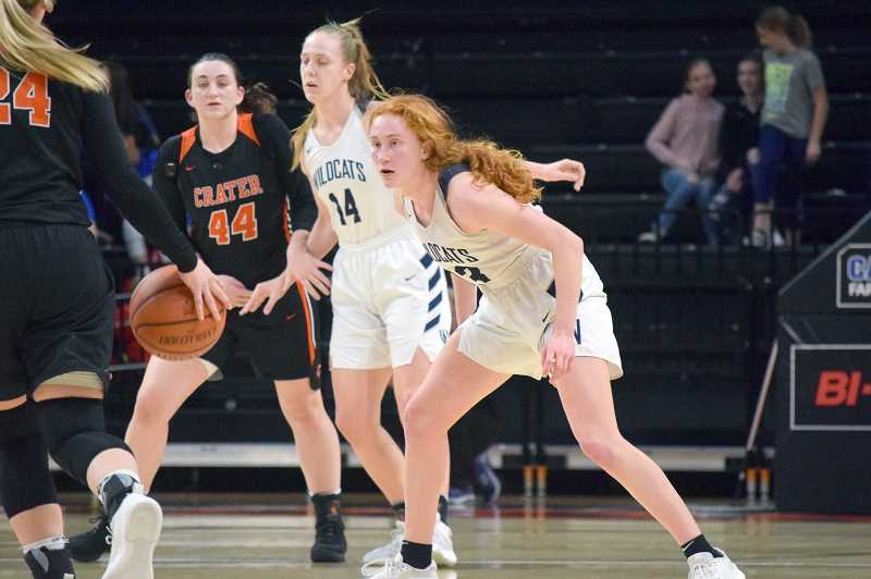 SPOKESMAN PHOTO: TANNER RUSS - Sophomore Sydney Burnss breakout season ended with a win over the Crater Comets. The tireless guard put up 19 points in the third place game.