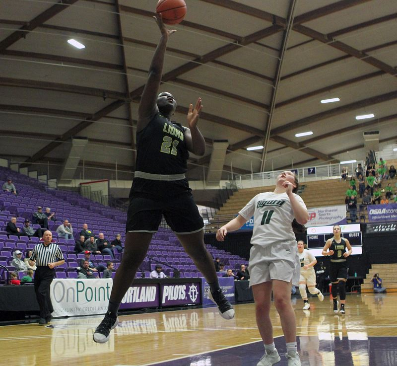 PMG PHOTO: MILES VANCE - West Linn sophomore Aaronette Vonleh (left) puts up a shot during the Lions' state tournament game with Tigard on Saturday.