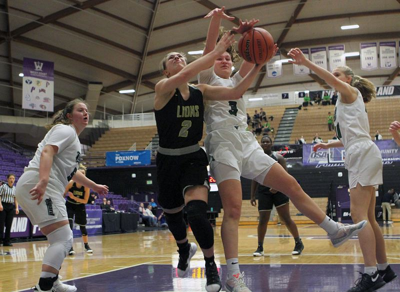 PMG PHOTO: MILES VANCE  - West Linn sophomore Cami Fulcher (2) tries to put up a shot against Tigard senior Campbell Gray during Saturday's Class 6A state tournament fourth-place game.