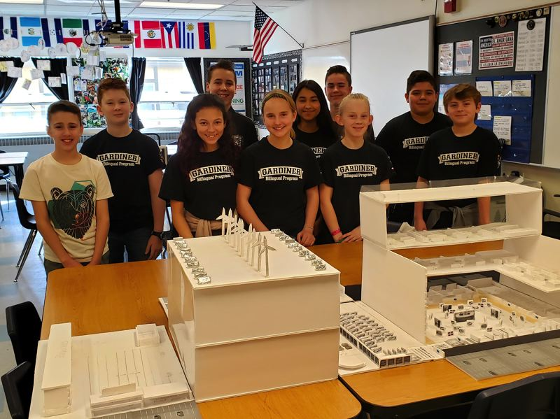 Sixth-graders from the Gardiner Middle School bilingual program are designing their own school as part of the national SchoolsNEXT design competition.