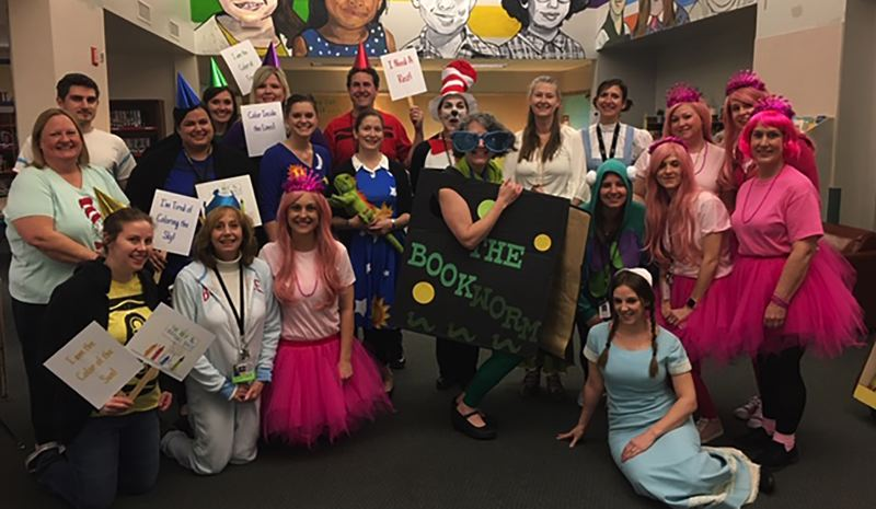 To celebrate Everybody Reads Day, staff at John Wetten Elementary dressed as their favorite story book characters, from the Cat in the Hat and Cinderella to Miss Frizzle.