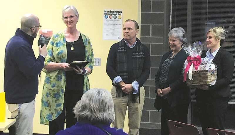 COURTESY PHOTO: CSD - Eccles Principal Andy McKean (left) shares about CARE Award winner Wendy Scharich (second from right). Others pictured from left to right are Superintendent Trip Goodall and Kiwanis's Marilyn Wood and Brenda Griffin.