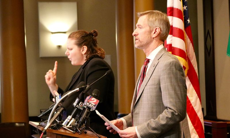 PMG PHOTO: ZANE SPARLING - Portland Mayor Ted Wheeler speaks with the media during his monthly press conference on Monday, March 11 at City Hall.
