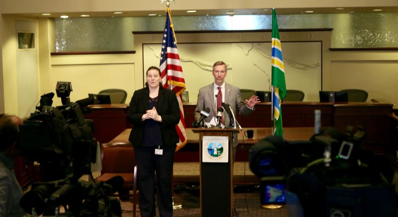 PMG PHOTO: ZANE SPARLING - Portland Mayor Ted Wheeler speaks during his monthly press conference on Monday, March 11 at City Hall.