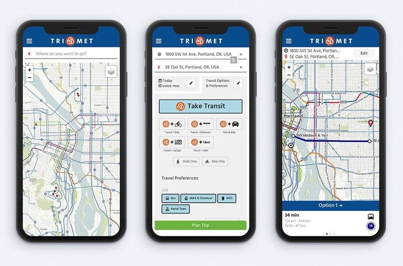 COURTESY TRIMET - How the new TriMet trip planner app looks on smart phones.