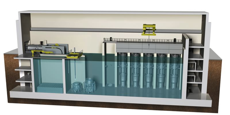 COURTESY: NUSCALE POWER - NuScale's small modular reactors, each of which are capable of generating 60 megawatts of power, will be built off-site and then shipped to a plant location. A single power plant will contain up to 12 modules, lined up side-by-side and completely submerged in a pool of water. The water will allow the modular reactors to self cool in the case of an emergency shutdown.