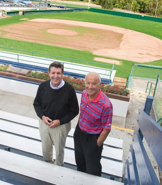PMG PHOTO - Rod Birkland (l) and Carl Cadonau Jr. at the Alpenrose baseball complex in September 2015., Southwest Community Connection - News