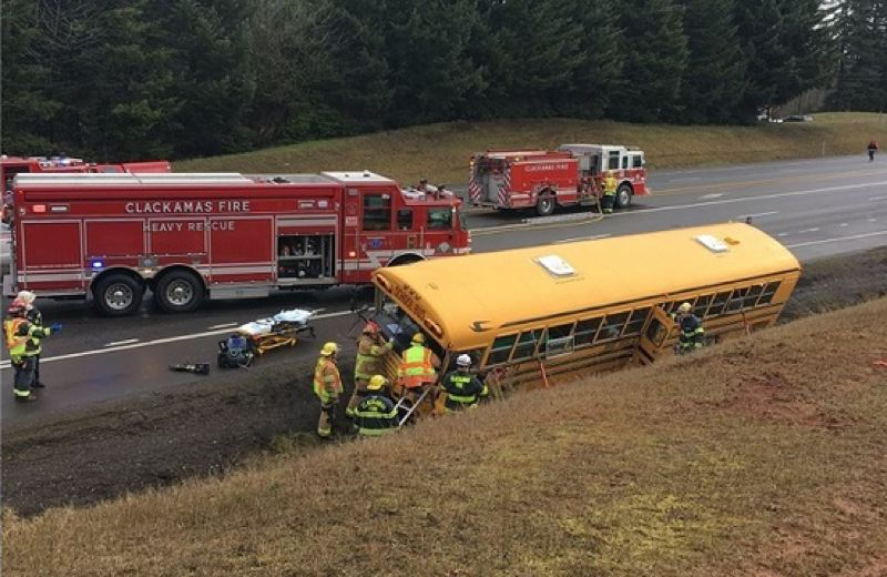 COURTESY TO KOIN 6 - A school bus and a car crashed on Highway 26 near Orient Drive, west of Sandy, March 12, 2019.