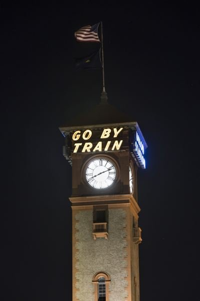 PORTLAND TRIBUNE: JAIME VALDEZ - The time on the Union Station clock before John Pohlpeter and his volunteer assistants moved the hour hands forwards for daylight saving time.