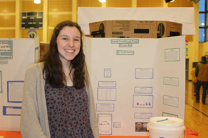 PMG PHOTO: HOLLY BARTHOLOMEW - WLHS senior Sarah Martin found the best method of composting for people living in urban areas.