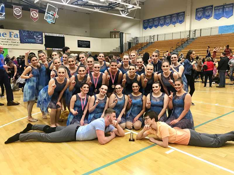 COURTESY PHOTO: JENNIFER CHAFFEE - Canby Cougar dancers celebrate first in show at Liberty High School earlier this month.