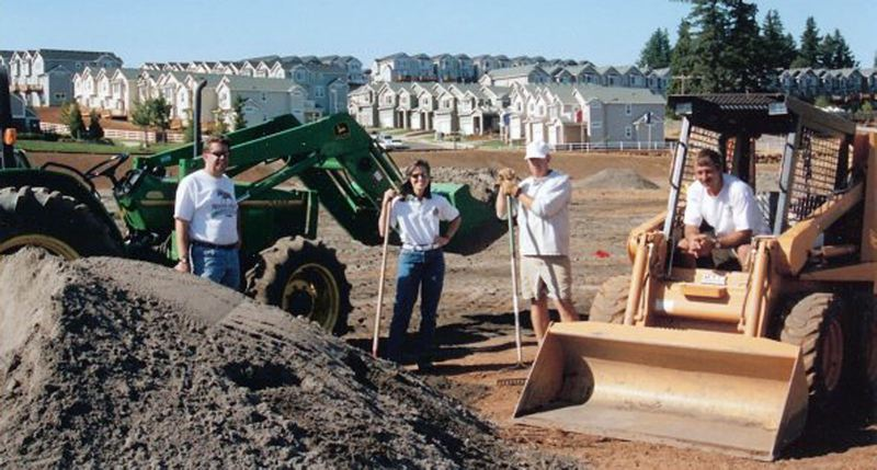 SUBMITTED PHOTO - Longtime West Linn resident Alison Henderson (center) was a hands-on contributor to the city's youth sports and parks programs, here helping with construction of Parker Road Field.