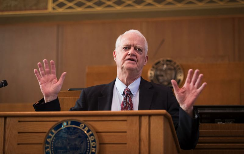 PMG FILE PHOTO - Oregon Senate President Peter Courtney of Salem returned early from his medical leave to speak to lawmakers before a vote on a resolution to support sexual harassment victims. Courtney apologized to the Senate for leadership's response to the harassment complaints.