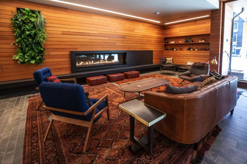 PAMPLIN MEDIA GROUP: JONATHAN HOUSE - The Carson's lobby is northwest adventure-themed. The building is aimed at people who want urban living on the edge of Forest Park.