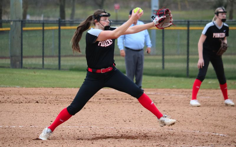 PMG PHOTO: JIM BESEDA - Oregon City's Preslie Ritz pitched 4 2/3 innings in relief of starter Aliyah Kelly in Thursday's 11-10 loss to Central Cathloic in the season opener for both teams at Delta Park in North Portland.