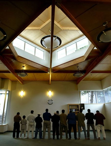 PMG FILE PHOTO - Local Muslims gathered for prayers at the Bilal Mosque in Beaverton. Portland police have added extra patrols around local mosques after a deadly shooting in a Christchurch, New Zealand, mosque.
