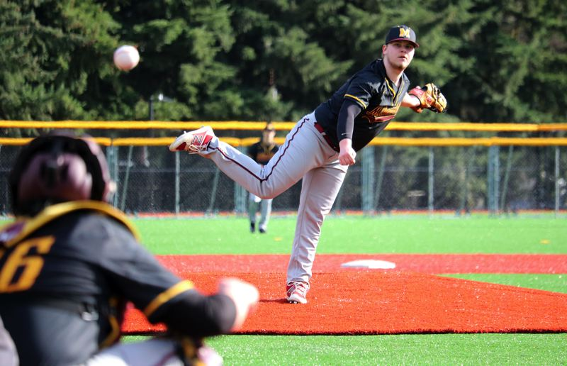 PMG PHOTO: JIM BESEDA - Milwaukie's Kaden Middleton drew the Opening Day start for the Mustangs as they lost 7-3 to Remond in Wednesday's first game on the new turf field at Milwaukie's Lake Road Sports Complex.