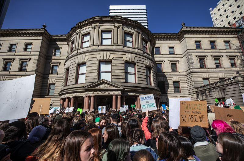 PMG PHOTO: JONATHAN HOUSE - Students skipped school Friday, March 15, to protest again inaction over climate change at Portland City Hall.