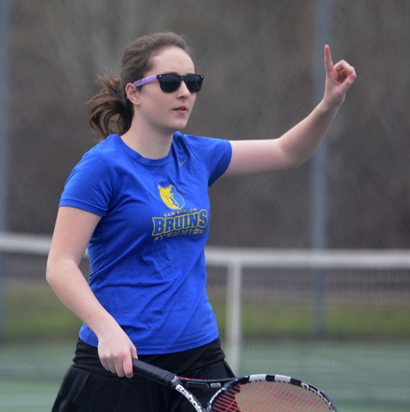 PMG PHOTO: DAVID BALL - Barlows Ainsley Pate makes a line call during the Bruins 7-6, 6-4 win in No. 1 doubles.