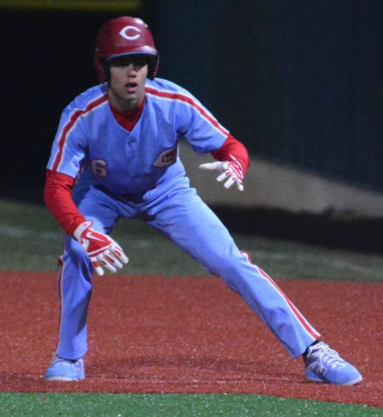 PMG PHOTO: DAVID BALL - Centennials Dillon Hart looks to get a jump off first base after getting hit by a pitch to lead off the sixth inning.