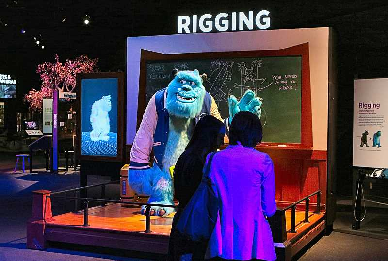DAVID F. ASHTON - In the Rigging section of the Science Behind Pixar exhibition now at OMSI, guests learn how character models are given a virtual skeleton, which enables animators to simulate lifelike movement.